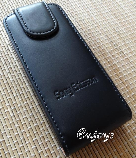 Enjoys: Genuine Leather Flip Pouch Cover Case Sony Ericsson Cedar J108