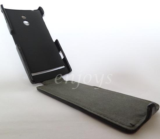 Enjoys: Leather Protective Case Pouch for Sony Xperia P / LT22i ~BLACK