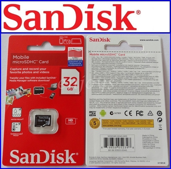 Enjoys: Real Sandisk 32GB Micro SD Class 4 ~Samsung Galaxy Note I9220