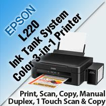 EPSON L220 INK TANK SYSTEM COLOR 3-IN-1 PRINTER