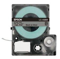 Epson LabelWorks Tape - 12mm Black on Silver Tape, LC-4SBM