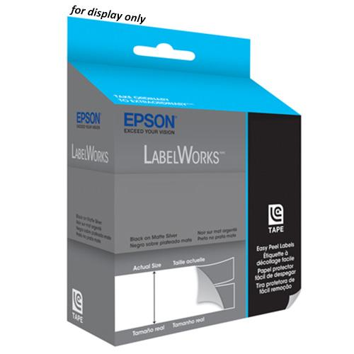 Epson LabelWorks Tape - 12mm White on Blue Tape, LC-4LWV
