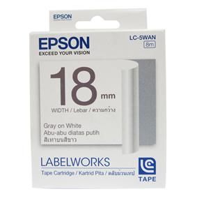 Epson LabelWorks Tape - 18mm 9 meter Gray on White Tape, LC-5WAN