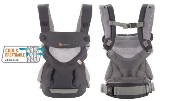 New Ergo Ergobaby Carrier 4 Position 360 Cool Air Carbon Grey