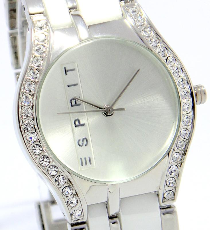 ESPRIT CALIFORNIA FULL DIAMOND CERAMIC LINK WH LADIES elegant Watch.