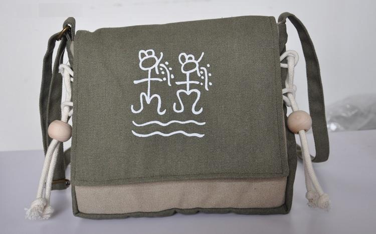 Ethnic College Style Sling Canvas Bag (military green)