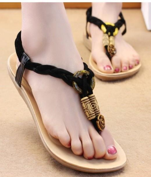 Ethnic Style Knit Sandals (Black)
