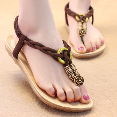 Ethnic Style Knit Sandals (Coffee)