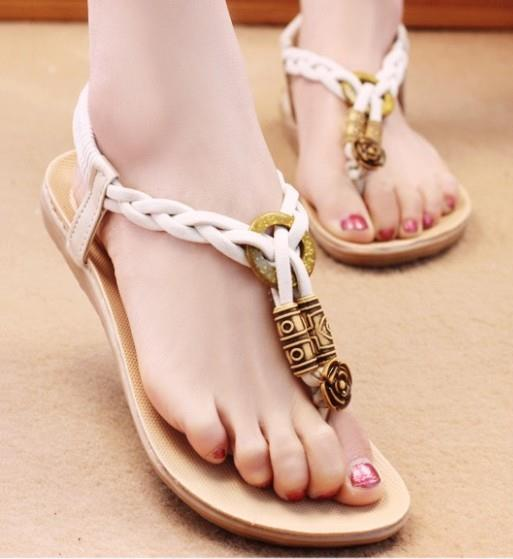 Ethnic Style Knit Sandals (Cream)