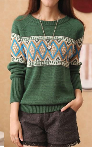 Ethnic Style Long-sleeve Knit Blouse (Green)
