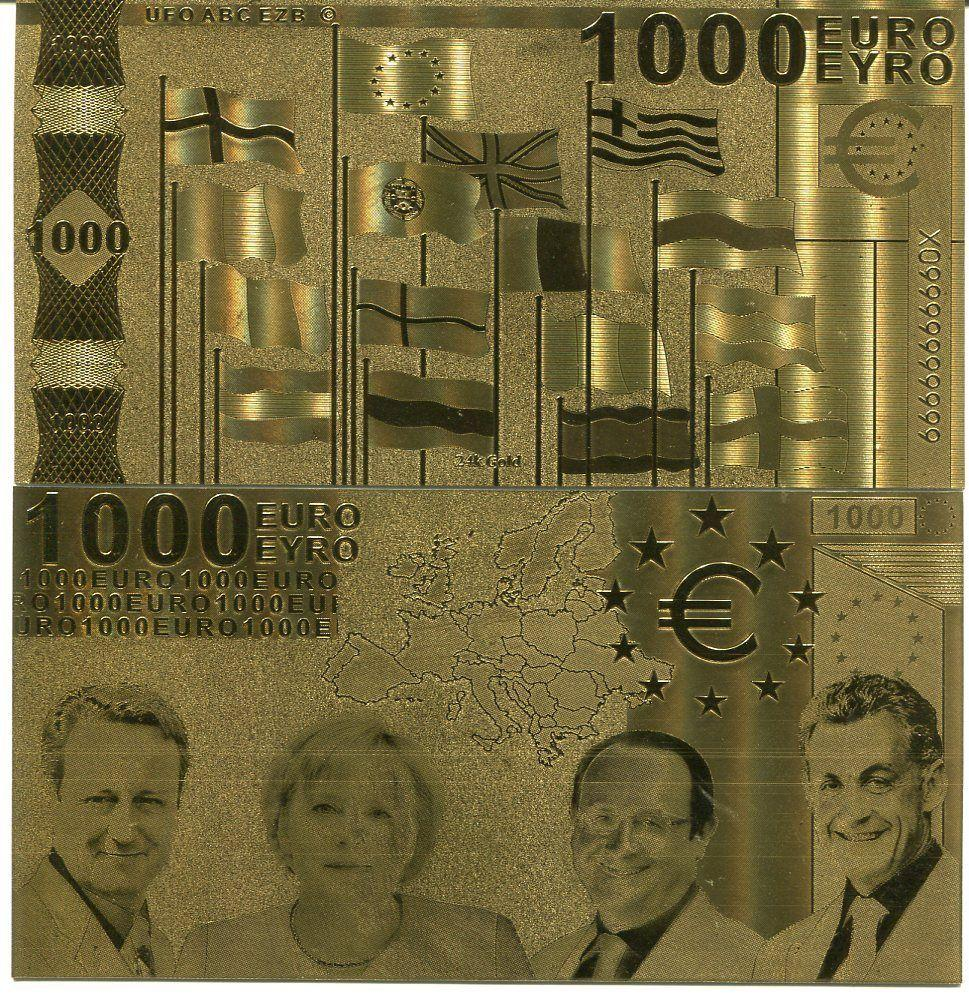 Euro 1000 24k gold banknote bill 2002