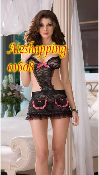 Europe and sexy one-piece bow fun aprons Lingerie + G-string 01608