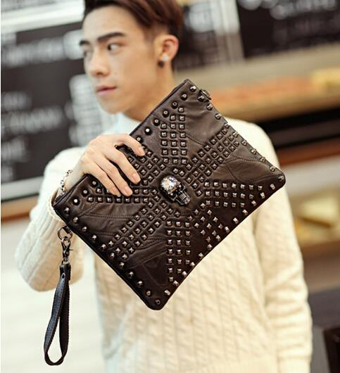 European and American skeleton rivet sheepskin clutch bag