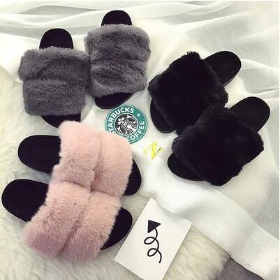 European new arrival bunny fur Korea version flat slipper