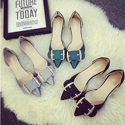European new-arrival square buckle pointed enamel-leather high heels