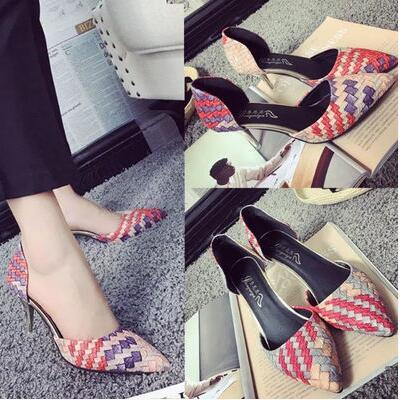 European famous color-stitch straw design pointed high heels