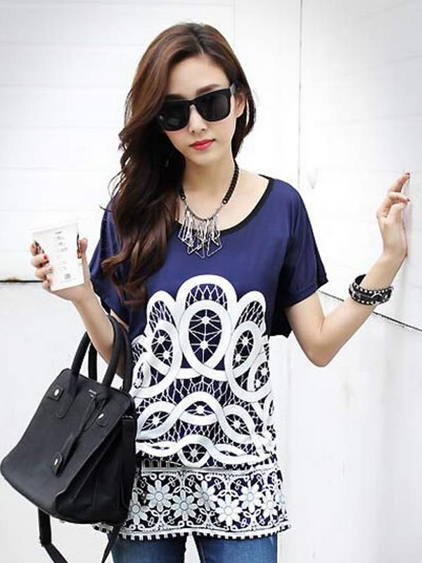 European Lace Printed Shirt