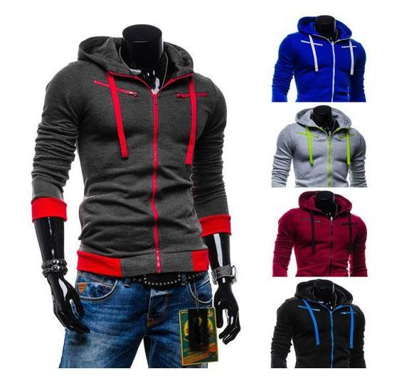 European Style Men's Casual Hooded Fleece Cardigan Sweater Jacket