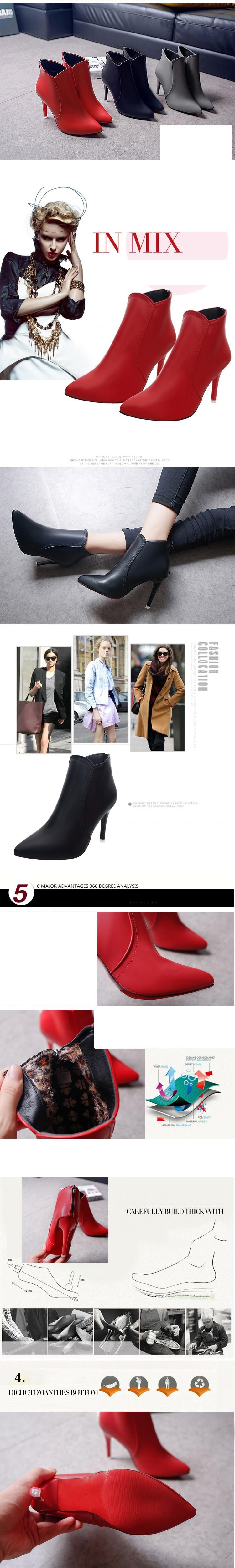 European Women's Elegant Pointed Thin Heels Short Boots