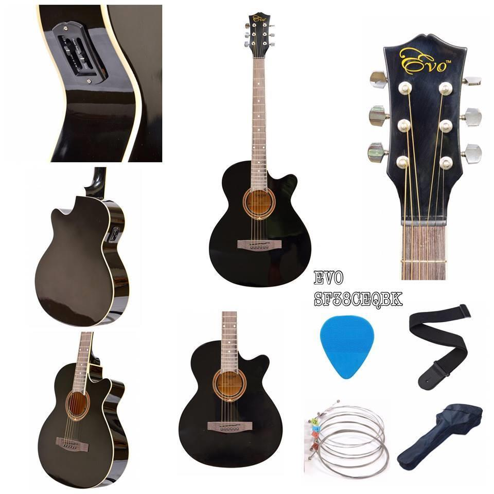 EVO SF38C2EQ BLACK ACOUSTIC GUITAR FREE BAG