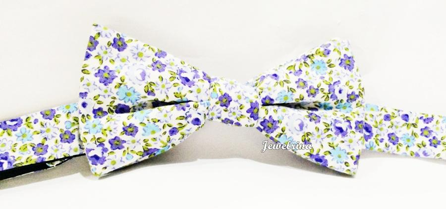 Exquisite Blue Floral Adjustable Bowtie (Free Shipping)