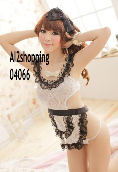 Exquisite lace ribbon sexy maid sexy pajamas+thong04066