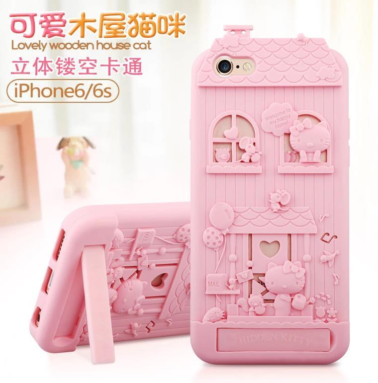 Fabitoo Apple iPhone 6 6S 4.7inch Cat Silicone Stand Case Cover Casing