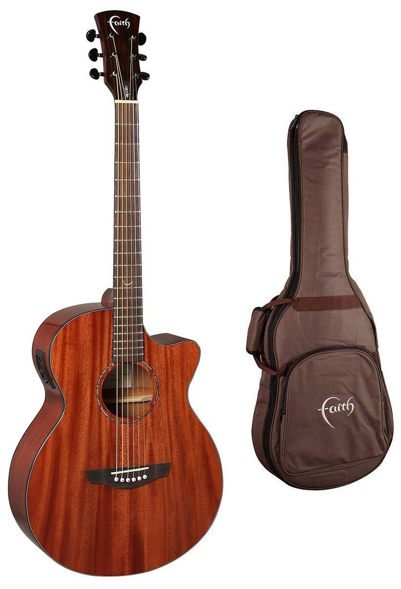 FAITH VENUS ELECTRO C/WAY GLOSS MAHOGANY ACOUSTIC GUITAR WITH FREE BAG