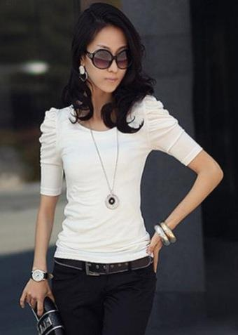 Fashion Half Bubble-Sleeve Blouse (White)