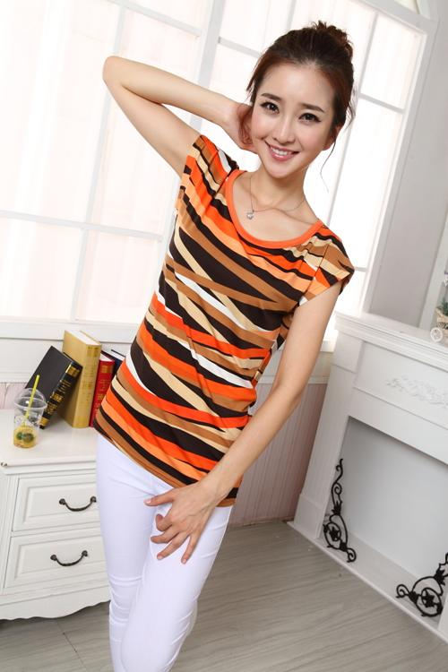 Fashion Camouflage Show-slim Blouse (Orange)