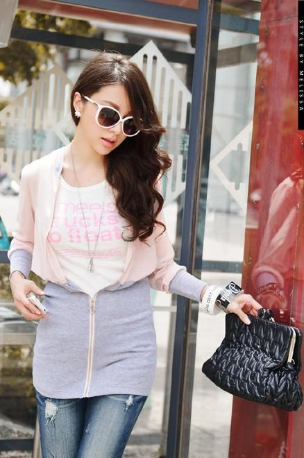 Fashion Chiffon Zipped Jacket (Pink)