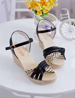 Fashion Cross Wedge Sandals (Black)