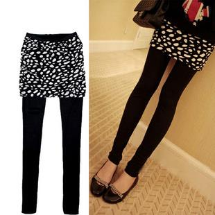 Fashion~Fake 2 pcs Big Small Dot Legging Culottes (Black)