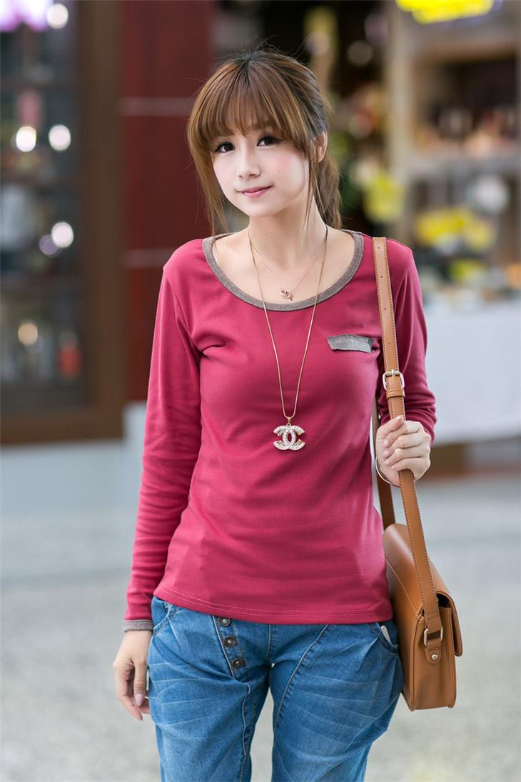 Fashion Fake-Pocket Long-sleeve Blouse (Wine Red)
