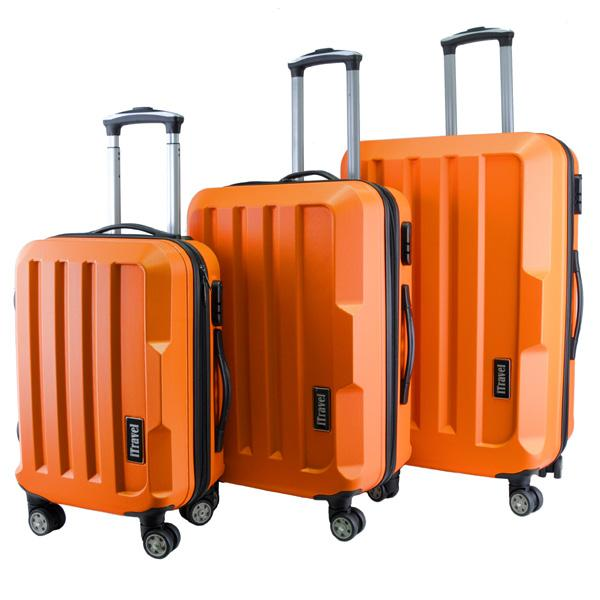 Fashion Gorgeous Solid Hard Case ABS Luggage Bag Set (Orange)
