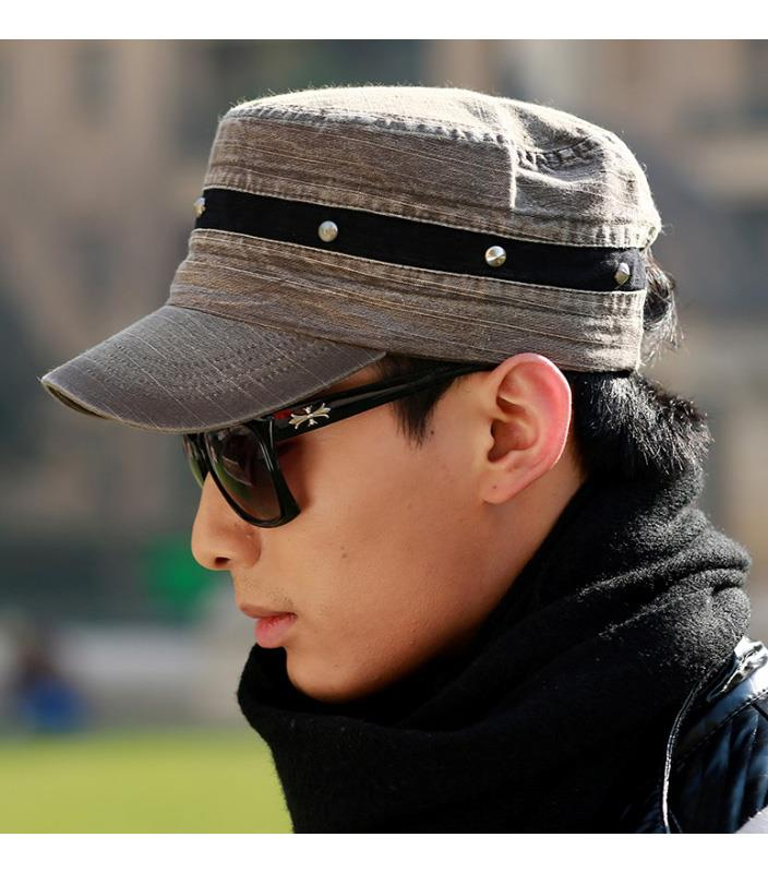 Fashion Jean Cloth Casual Rivet Flat Cap