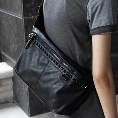 Fashion Korean male rivet shoulder messenger bag