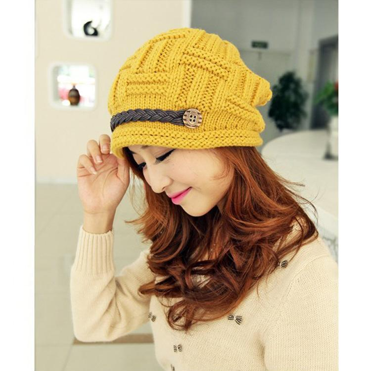 Fashion Leather-Chain Wool Hat