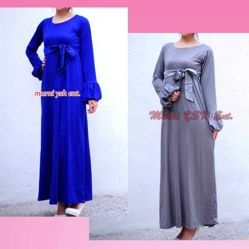 Fashion long dress maxi jubah, gray & blue, CB 01