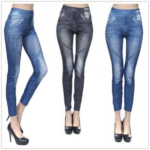 Fashion Love Heart Seamless Imitate Jean Leggings