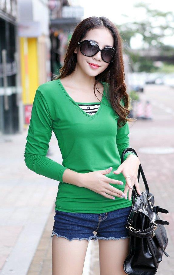 Fashion Milk Silk Layered-look Long Sleeve Blouse (Green)