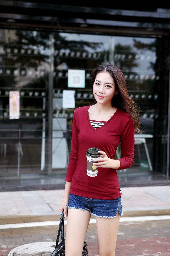 Fashion Milk Silk Layered-look Long Sleeve Blouse (Wine Red)