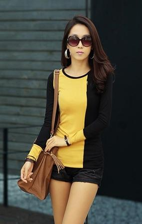 Fashion Mix Colour Show-slim Long-sleeve Blouse (Yellow)