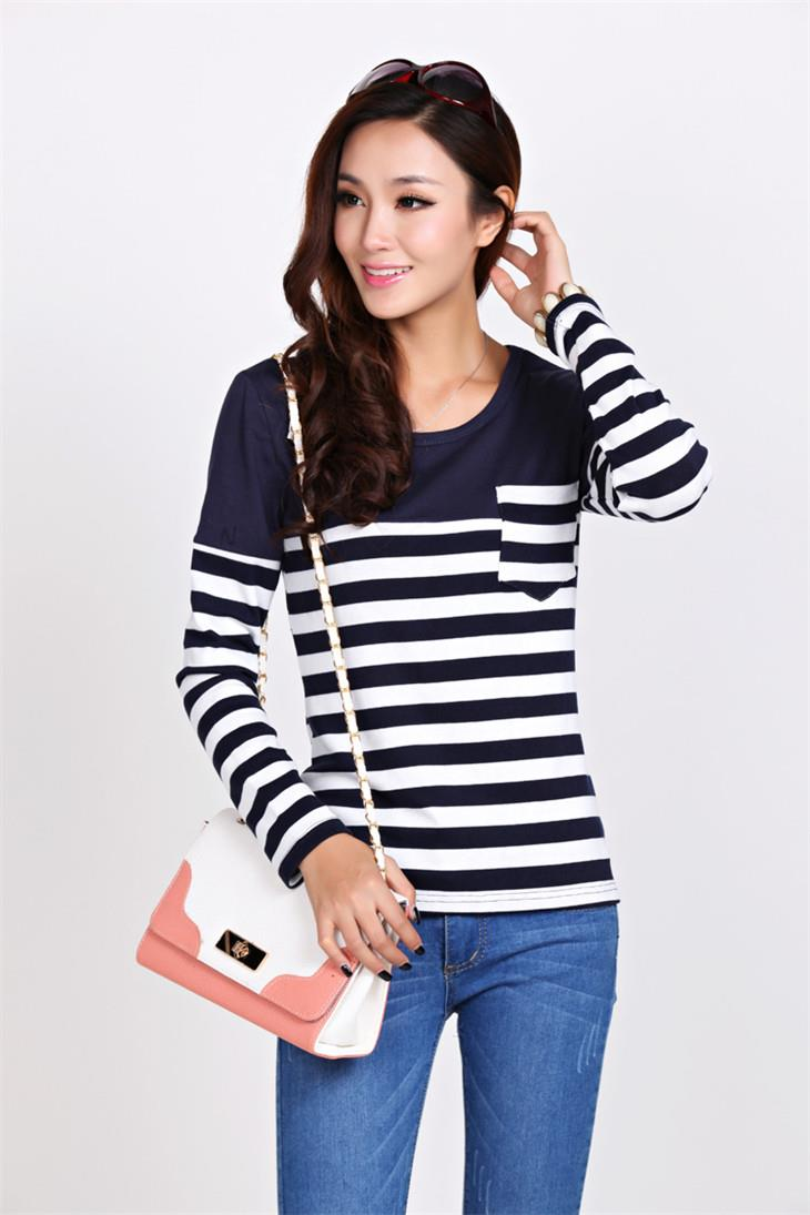 Fashion Pocket Stripe Long-sleeve Blouse (Blue)