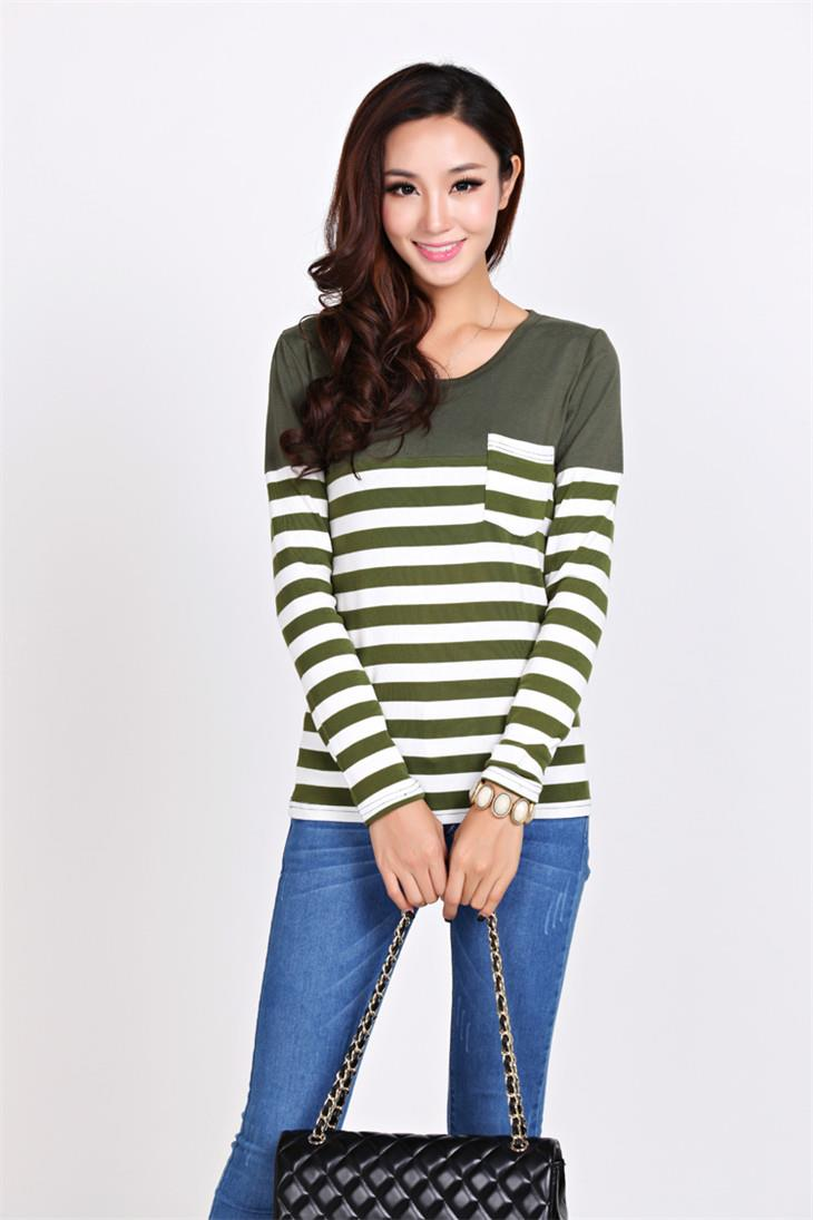 Fashion Pocket Stripe Long-sleeve Blouse (Green)