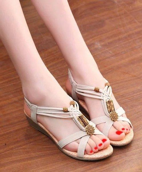 Fashion Rome Style Wedge Sandals (Cream)