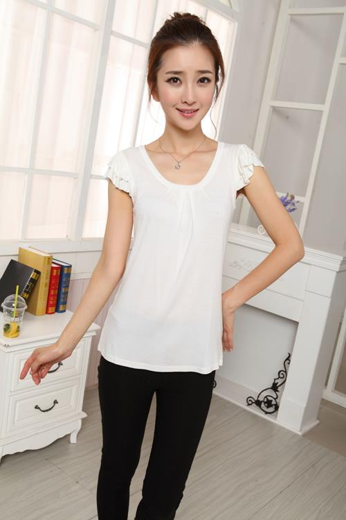 Fashion Shoulder Flounce Show-slim Blouse (White)