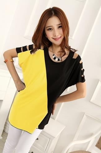 Fashion Show-Shoulder Long Blouse (Yellow)