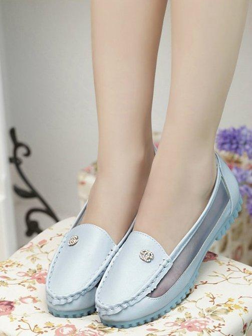 Fashion Small Diamond Polyester Pump Shoes (Blue)