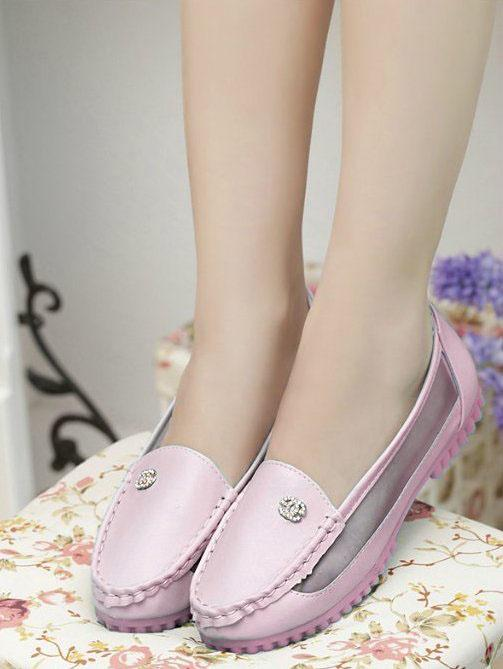 Fashion Small Diamond Polyester Pump Shoes (Pink)